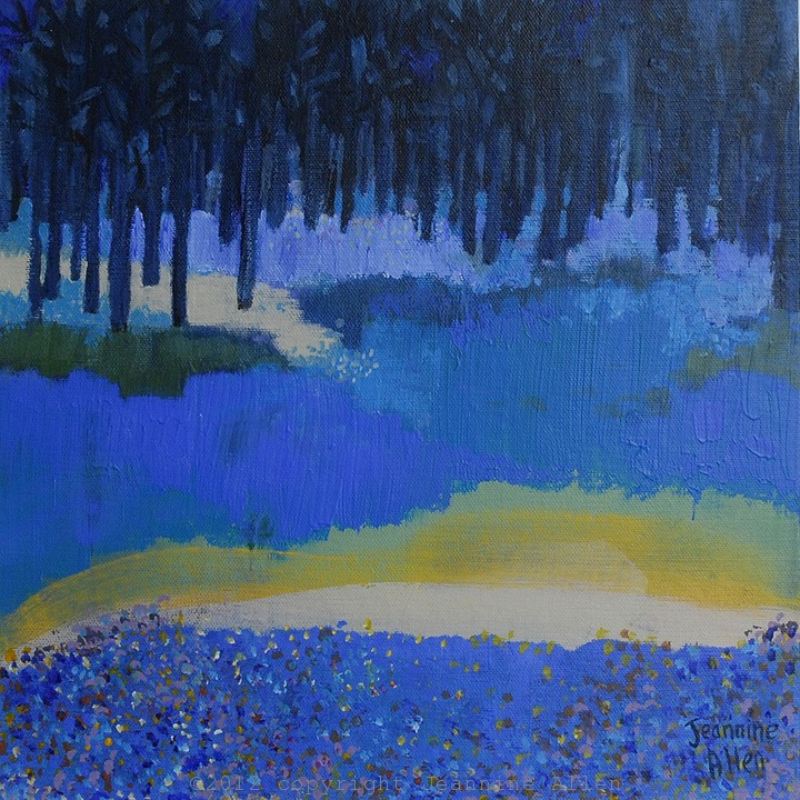 Bluebell Wood acrylics